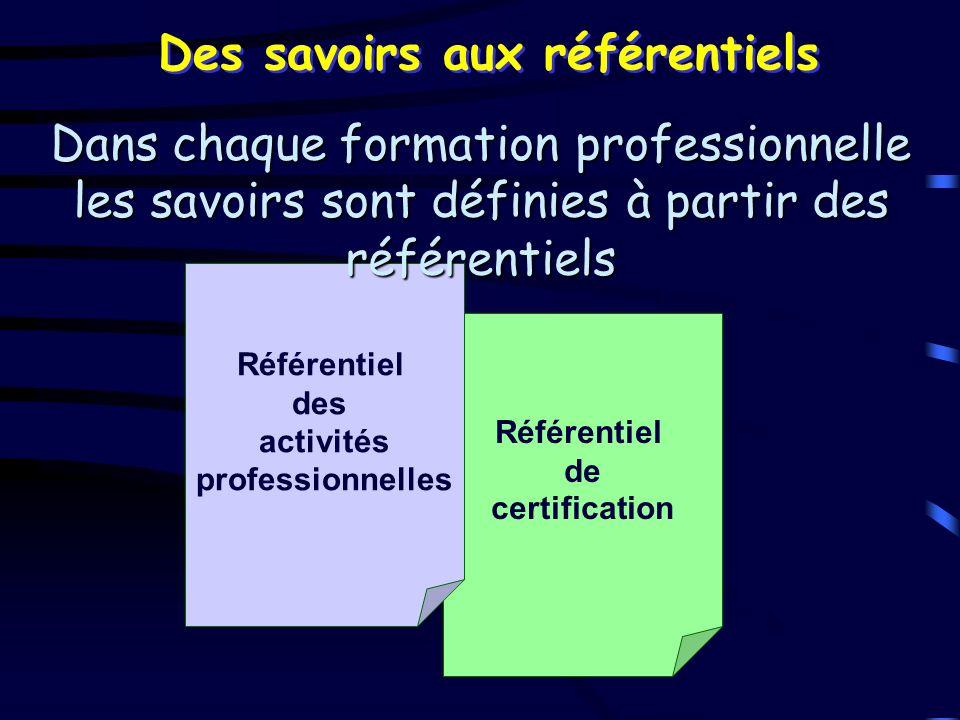 Référentiel de certification Référentiel des activités professionnelles Des savoirs aux référentiels Dans chaque formation professionnelle les savoirs