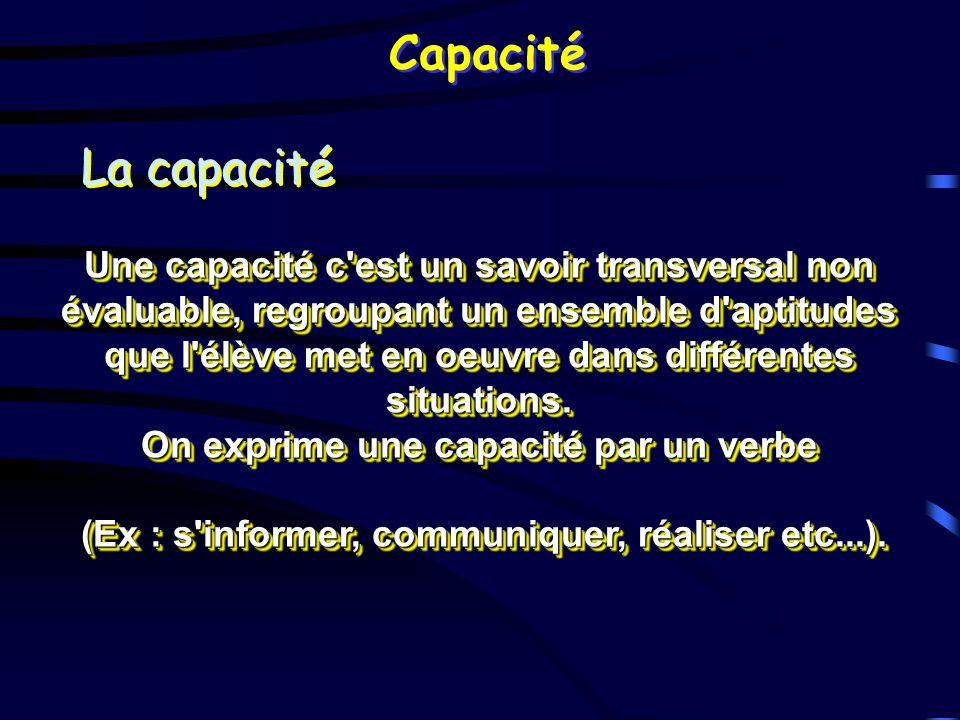 Capacité La capacité Une capacité c'est un savoir transversal non évaluable, regroupant un ensemble d'aptitudes que l'élève met en oeuvre dans différe