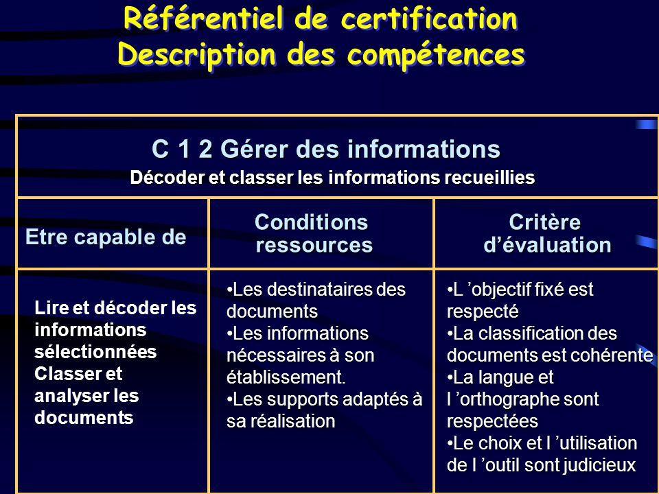 Référentiel de certification Description des compétences C 1 2 Gérer des informations C 1 2 Gérer des informations Etre capable de Conditionsressource