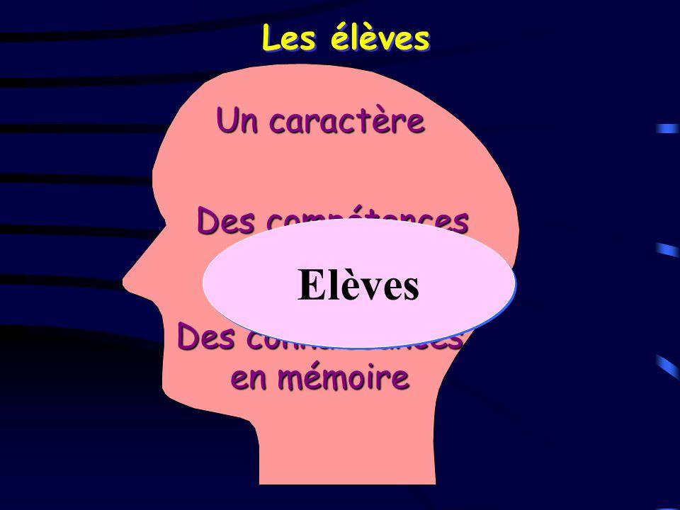 Les élèves Un caractère Des compétences Des connaissances en mémoire Elèves