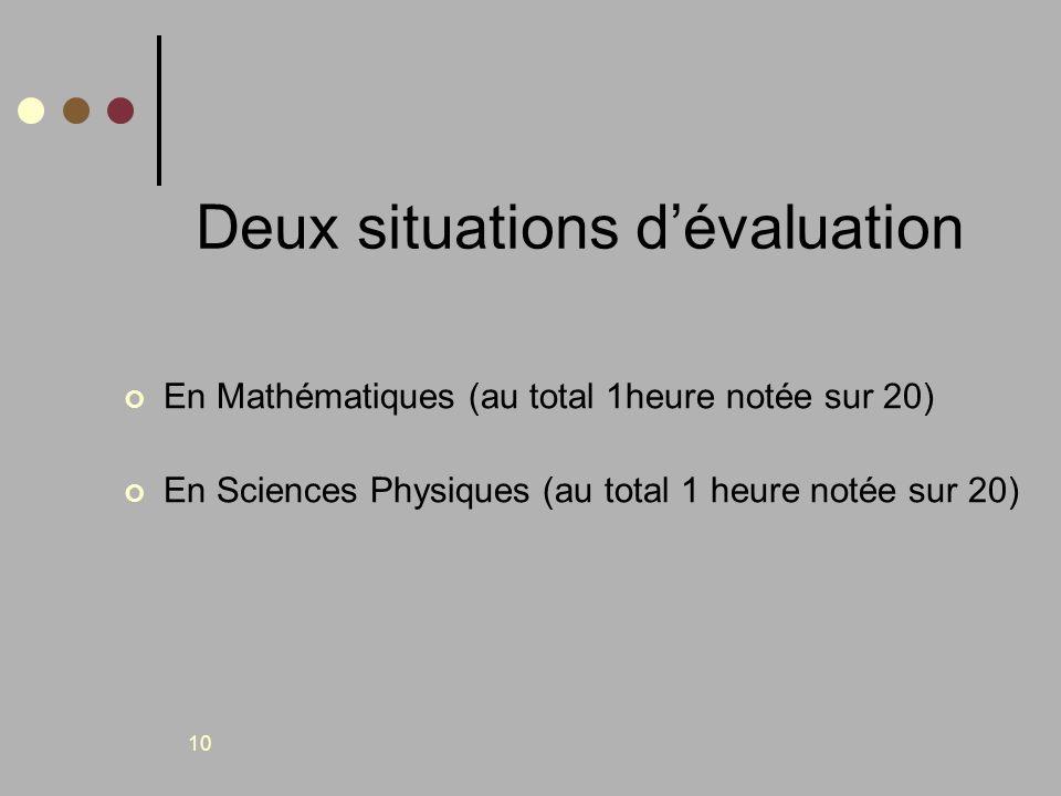 10 Deux situations dévaluation En Mathématiques (au total 1heure notée sur 20) En Sciences Physiques (au total 1 heure notée sur 20)