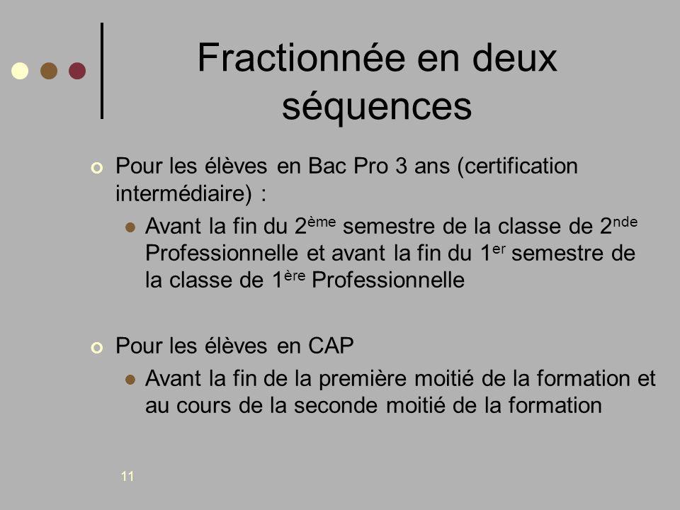 11 Fractionnée en deux séquences Pour les élèves en Bac Pro 3 ans (certification intermédiaire) : Avant la fin du 2 ème semestre de la classe de 2 nde