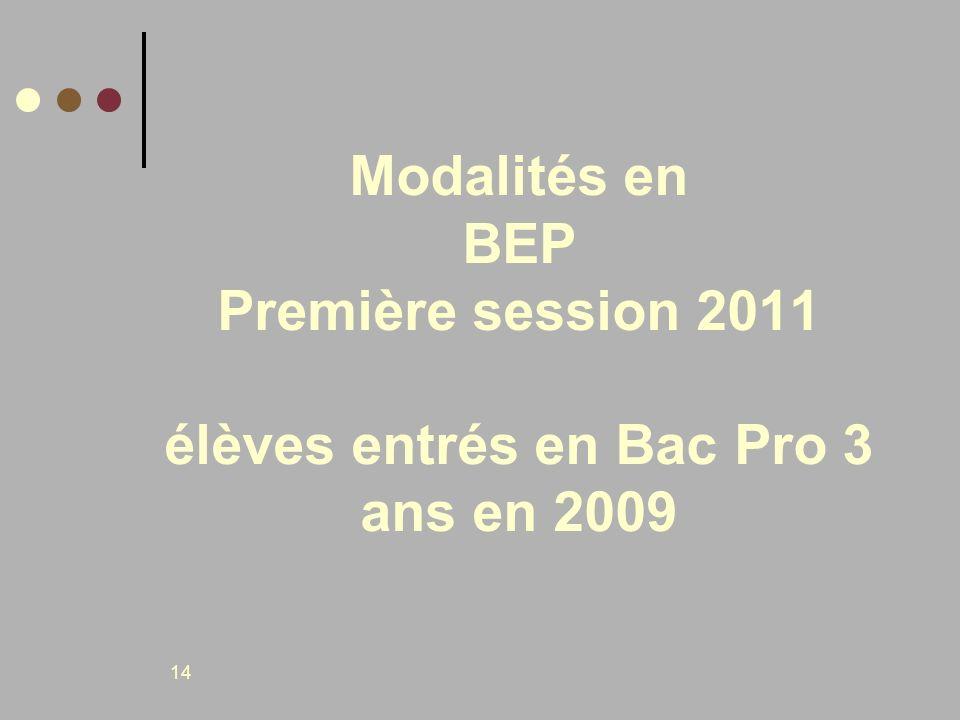 14 Modalités en BEP Première session 2011 élèves entrés en Bac Pro 3 ans en 2009