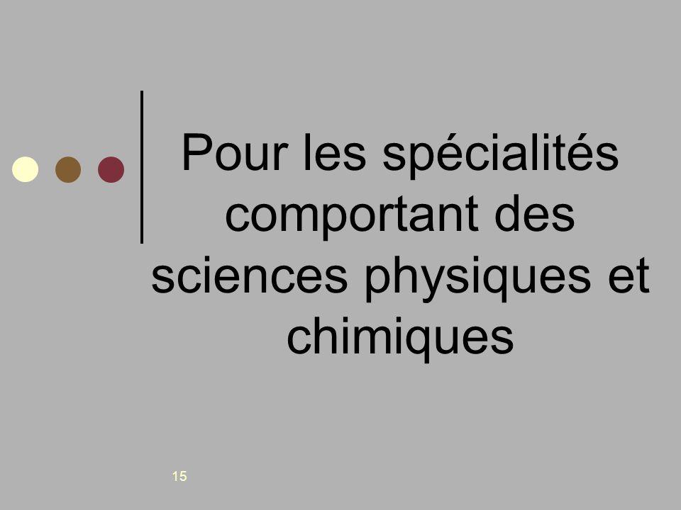 15 Pour les spécialités comportant des sciences physiques et chimiques