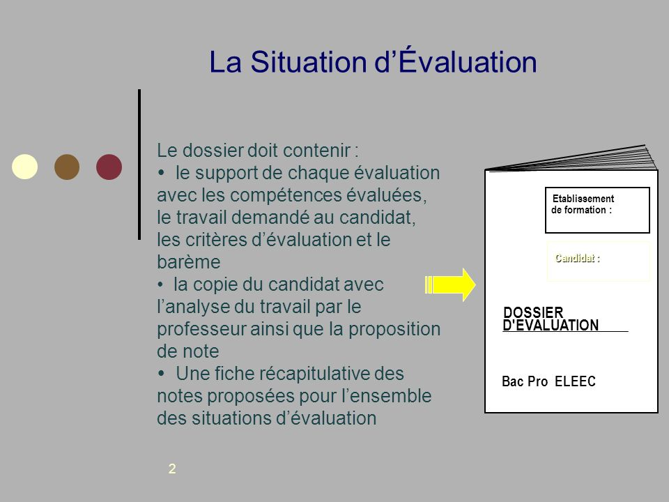 2 La Situation dÉvaluation Le dossier doit contenir : le support de chaque évaluation avec les compétences évaluées, le travail demandé au candidat, l