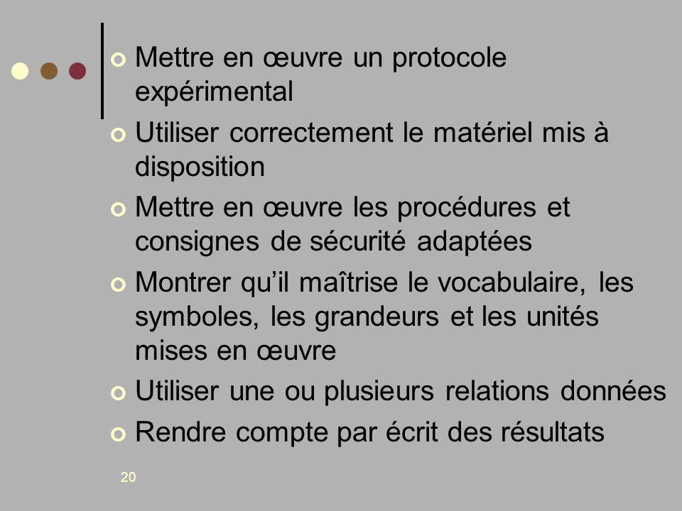 20 Mettre en œuvre un protocole expérimental Utiliser correctement le matériel mis à disposition Mettre en œuvre les procédures et consignes de sécuri