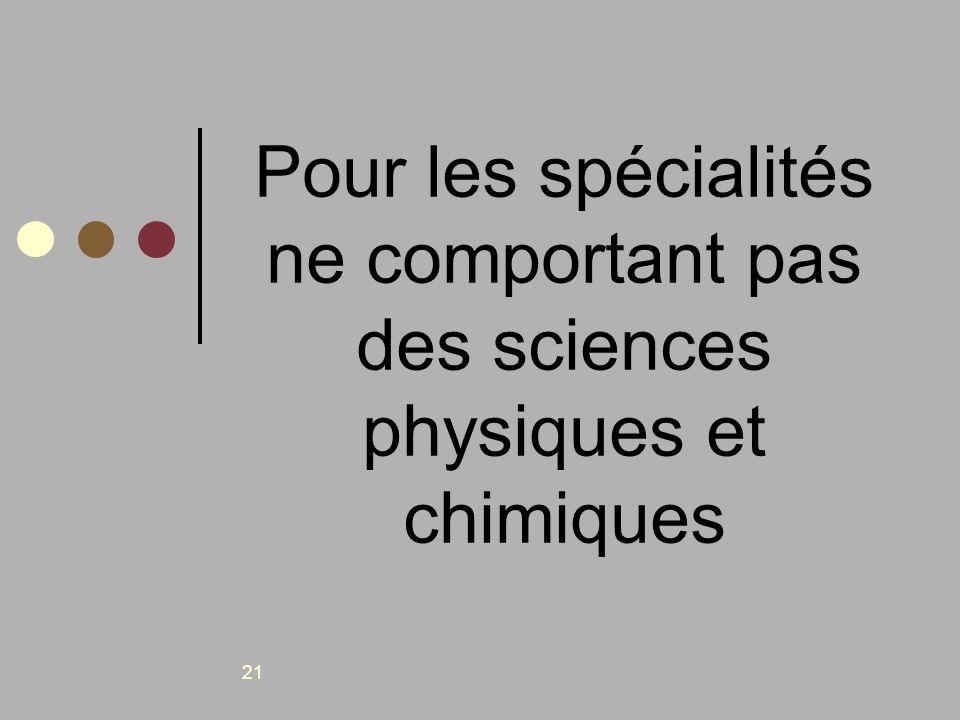 21 Pour les spécialités ne comportant pas des sciences physiques et chimiques