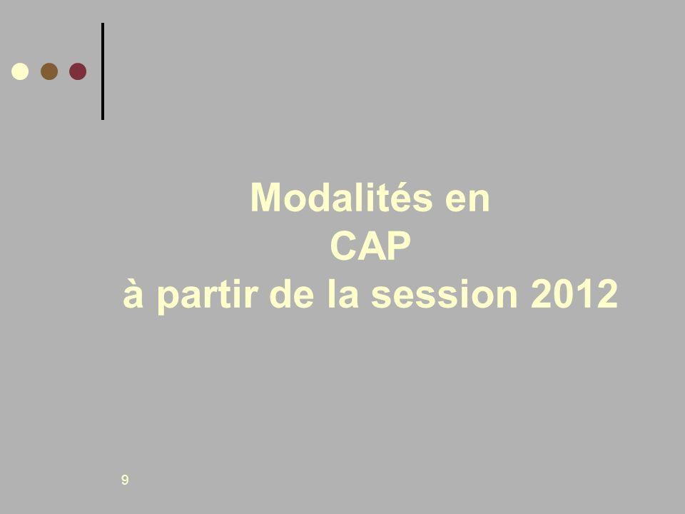 9 Modalités en CAP à partir de la session 2012