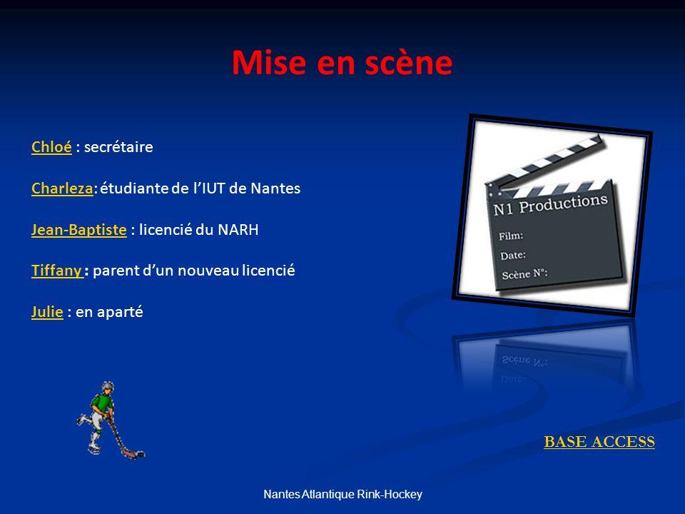 Nantes Atlantique Rink-Hockey Mise en scène BASE ACCESS Chloé : secrétaire Charleza: étudiante de lIUT de Nantes Jean-Baptiste : licencié du NARH Tiffany : parent dun nouveau licencié Julie : en aparté
