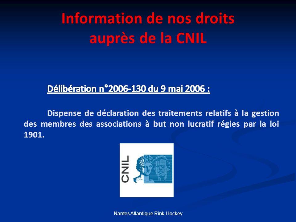 Information de nos droits auprès de la CNIL