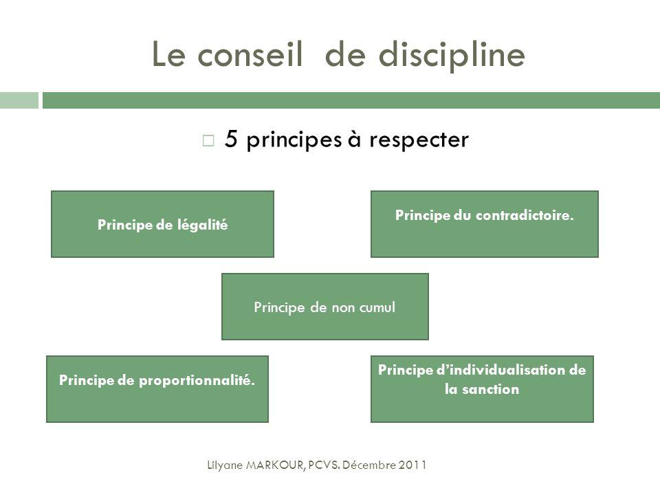 Le conseil de discipline 5 principes à respecter Lilyane MARKOUR, PCVS. Décembre 2011 Principe de légalité Principe du contradictoire. Principe dindiv