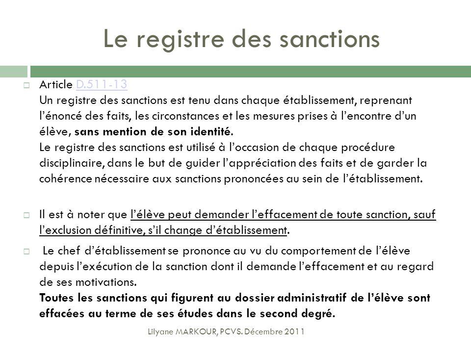Le registre des sanctions Article D.511-13 Un registre des sanctions est tenu dans chaque établissement, reprenant lénoncé des faits, les circonstance