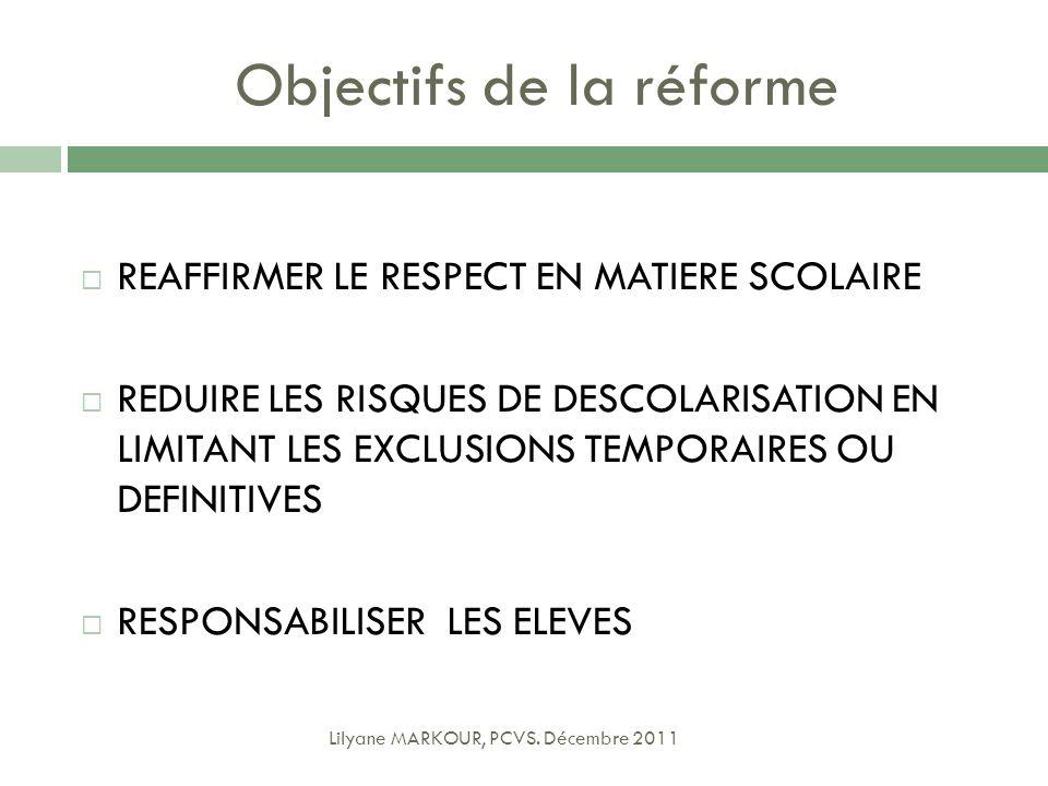 Objectifs de la réforme REAFFIRMER LE RESPECT EN MATIERE SCOLAIRE REDUIRE LES RISQUES DE DESCOLARISATION EN LIMITANT LES EXCLUSIONS TEMPORAIRES OU DEF