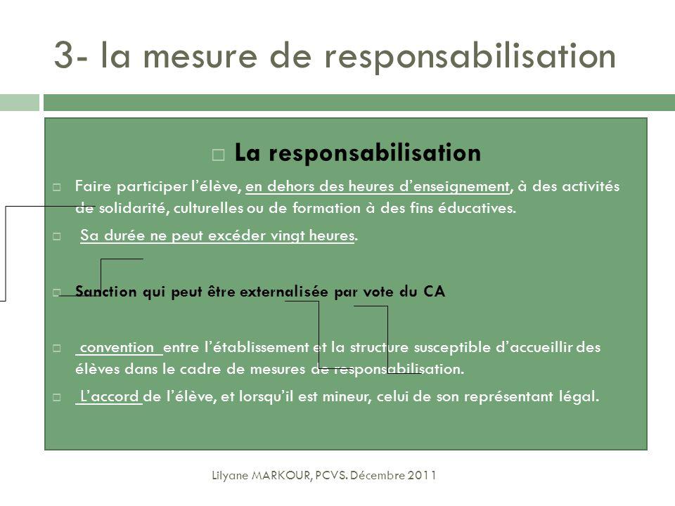 3- la mesure de responsabilisation Lilyane MARKOUR, PCVS. Décembre 2011 La responsabilisation Faire participer lélève, en dehors des heures denseignem