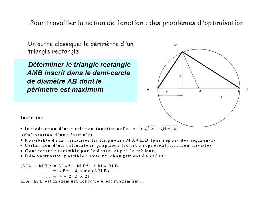 Déterminer le triangle rectangle AMB inscrit dans le demi-cercle de diamètre AB dont le périmètre est maximum Pour travailler la notion de fonction :