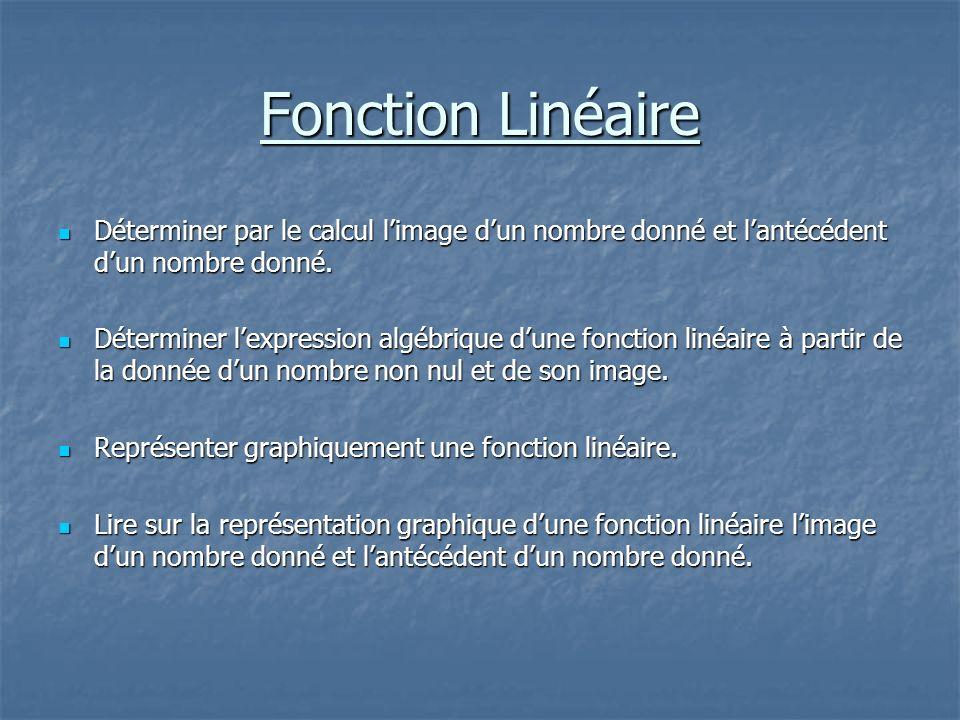 Fonction Linéaire Déterminer par le calcul limage dun nombre donné et lantécédent dun nombre donné. Déterminer lexpression algébrique dune fonction li