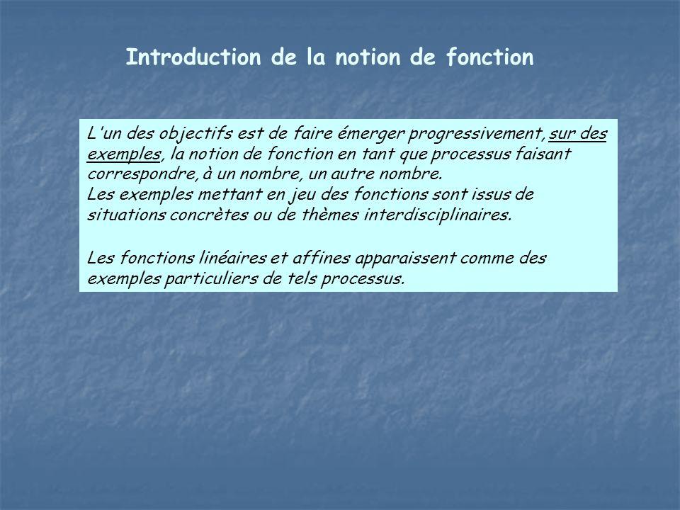 L'un des objectifs est de faire émerger progressivement, sur des exemples, la notion de fonction en tant que processus faisant correspondre, à un nomb