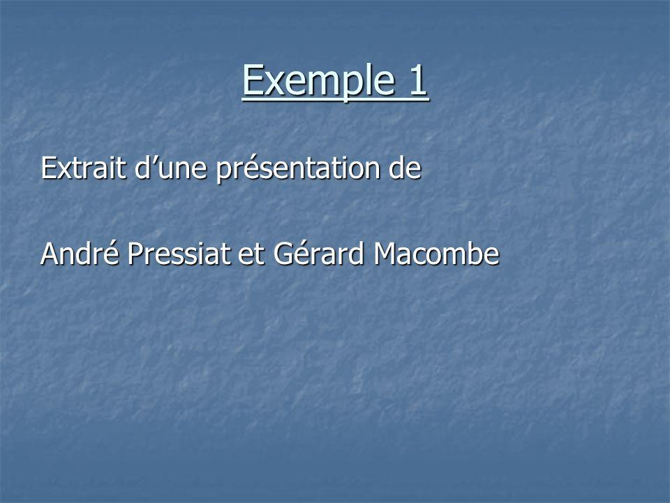Exemple 1 Extrait dune présentation de André Pressiat et Gérard Macombe