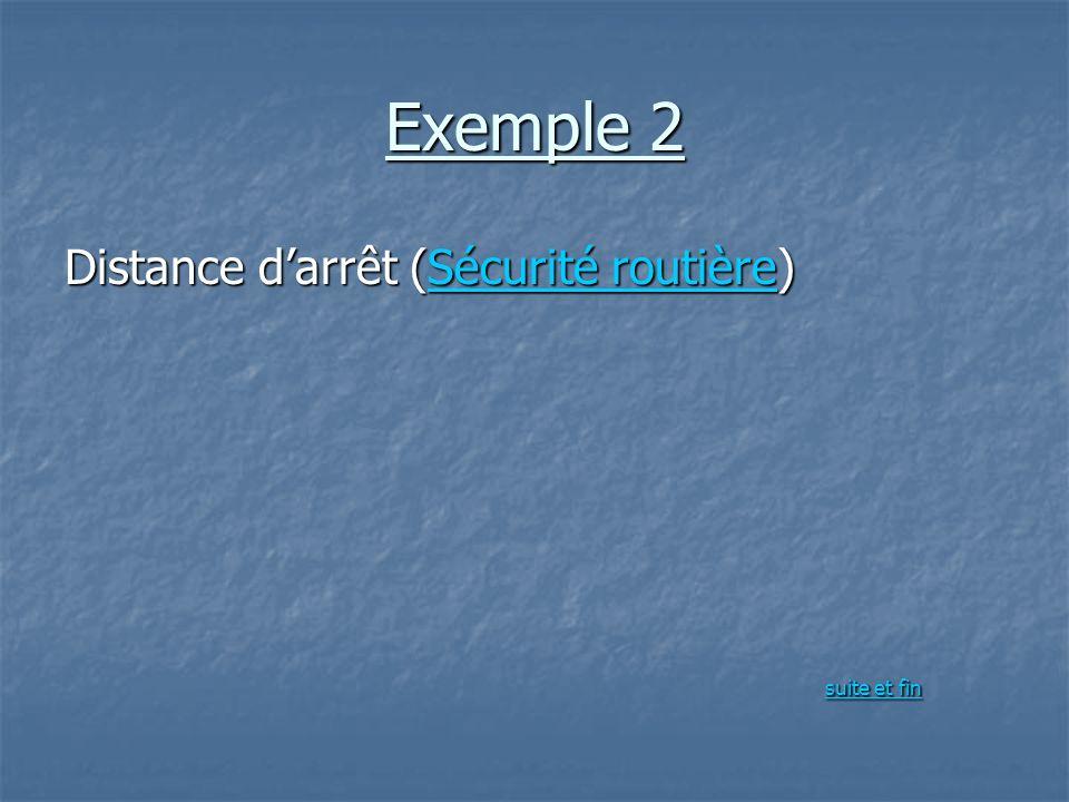 Exemple 2 Distance darrêt (Sécurité routière) Sécurité routièreSécurité routière suite et fin suite et fin suite et fin suite et fin