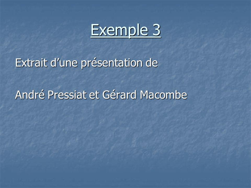 Exemple 3 Extrait dune présentation de André Pressiat et Gérard Macombe
