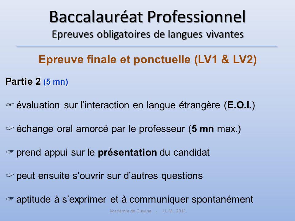 Baccalauréat Professionnel Epreuves obligatoires de langues vivantes Epreuve finale et ponctuelle (LV1 & LV2) Partie 2 (5 mn) évaluation sur linteract