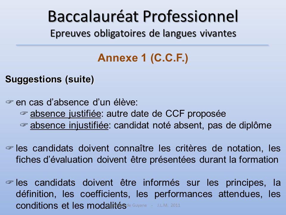 Baccalauréat Professionnel Epreuves obligatoires de langues vivantes Annexe 1 (C.C.F.) Suggestions (suite) en cas dabsence dun élève: absence justifié
