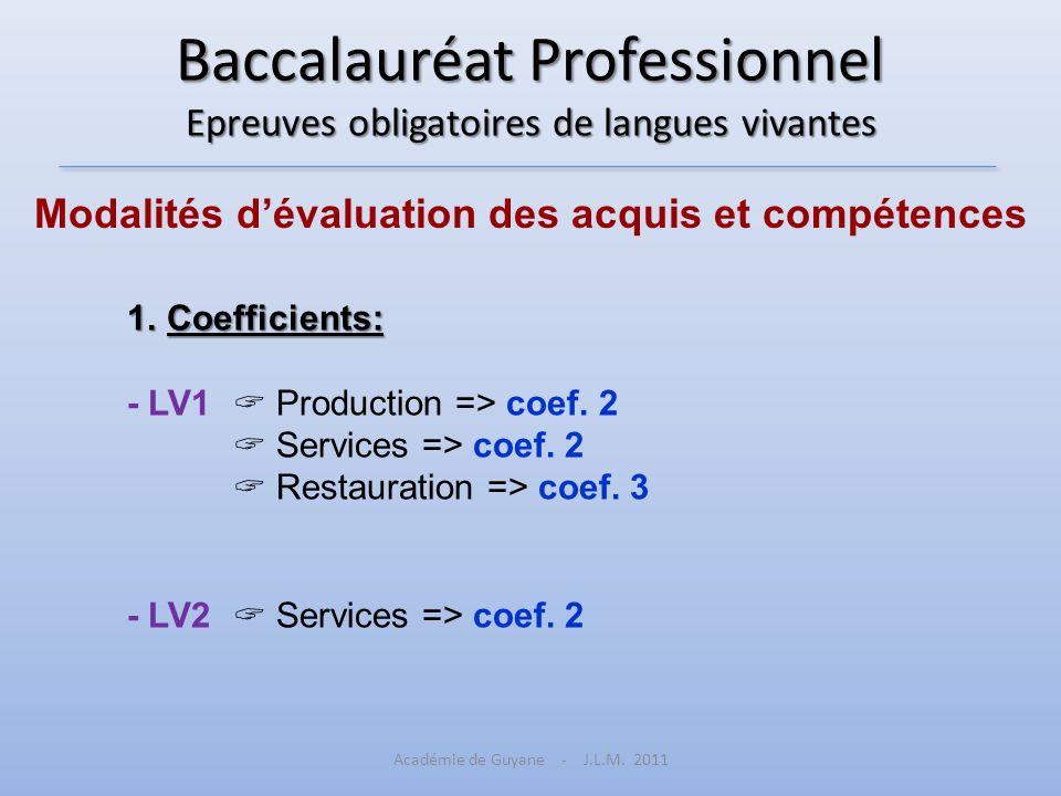 Baccalauréat Professionnel Epreuves obligatoires de langues vivantes Modalités dévaluation des acquis et compétences 1.Coefficients: - LV1 Production
