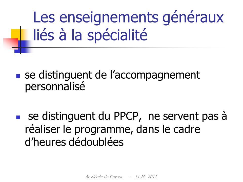Les enseignements généraux liés à la spécialité se distinguent de laccompagnement personnalisé se distinguent du PPCP, ne servent pas à réaliser le programme, dans le cadre dheures dédoublées Académie de Guyane - J.L.M.