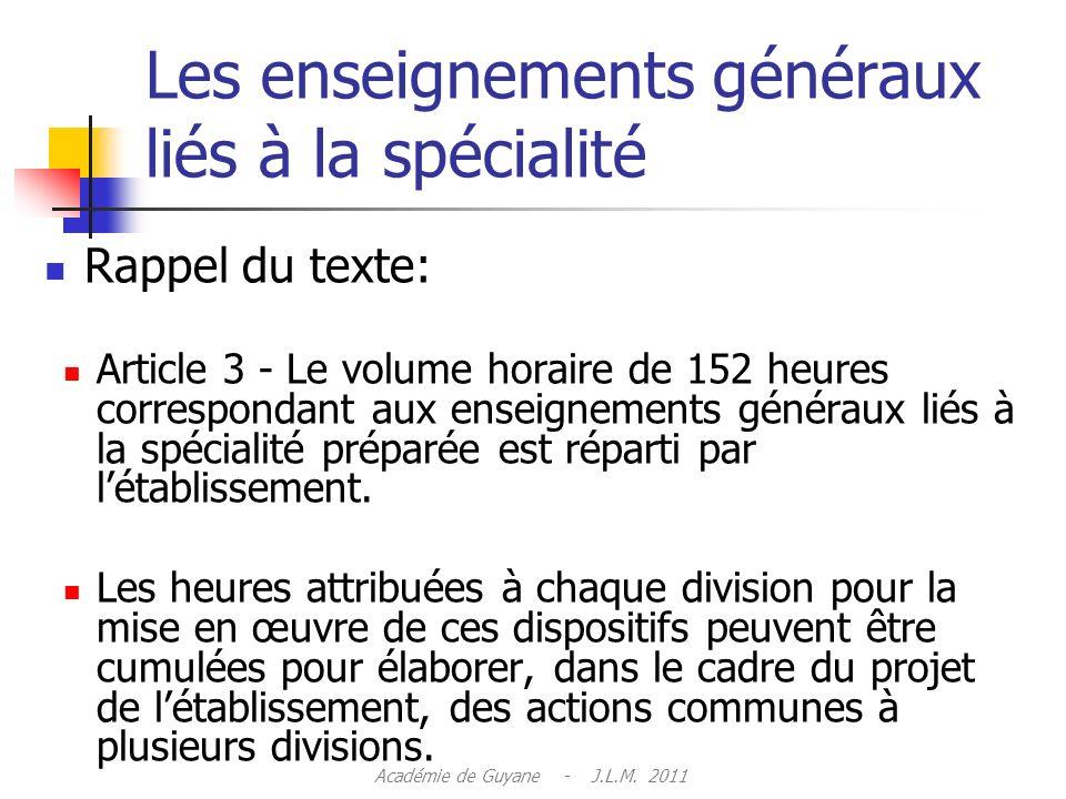Les enseignements généraux liés à la spécialité Rappel du texte: Article 3 - Le volume horaire de 152 heures correspondant aux enseignements généraux liés à la spécialité préparée est réparti par létablissement.