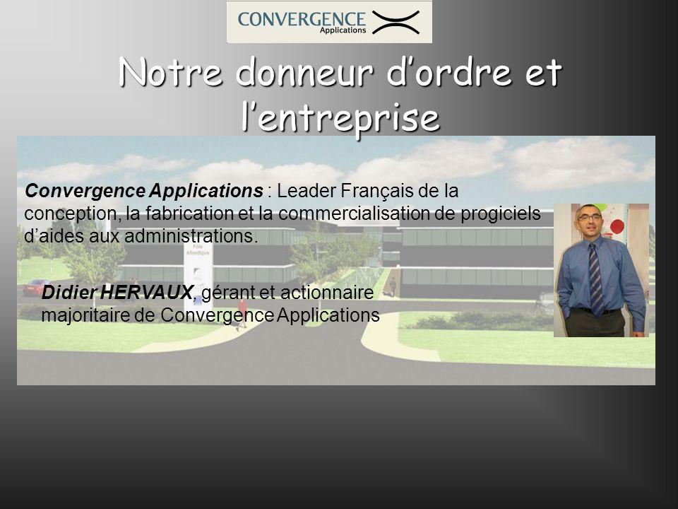Notre donneur dordre et lentreprise Didier HERVAUX, gérant et actionnaire majoritaire de Convergence Applications Convergence Applications : Leader Fr