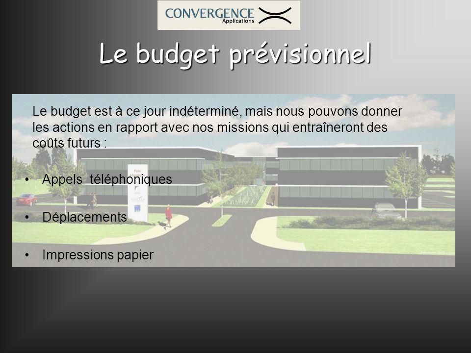 Le budget prévisionnel Appels téléphoniques Déplacements Impressions papier Le budget est à ce jour indéterminé, mais nous pouvons donner les actions