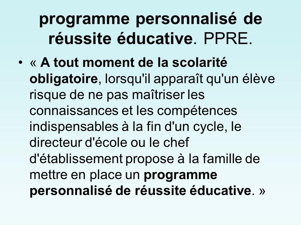 programme personnalisé de réussite éducative.PPRE.