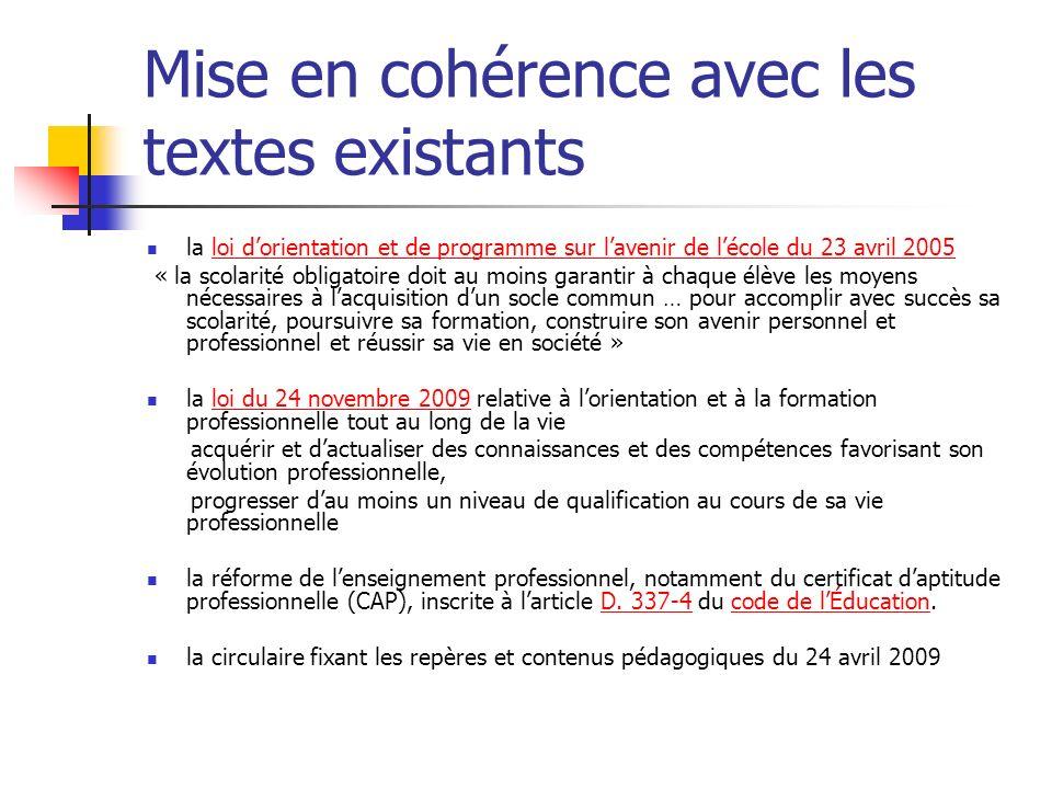 Mise en cohérence avec les textes existants la loi dorientation et de programme sur lavenir de lécole du 23 avril 2005loi dorientation et de programme