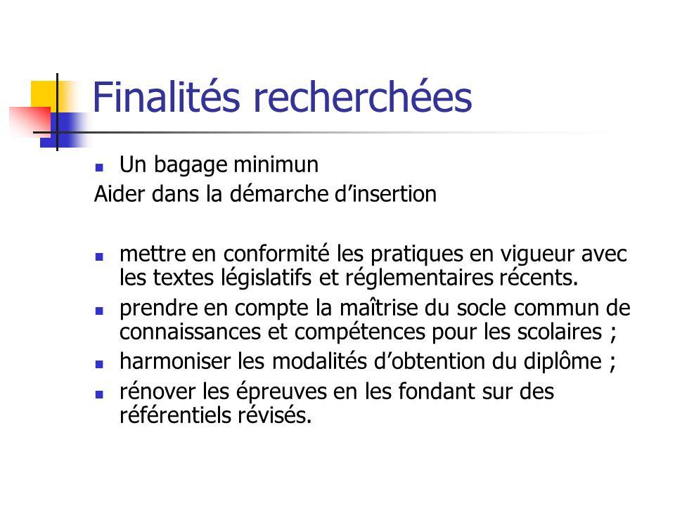 Finalités recherchées Un bagage minimun Aider dans la démarche dinsertion mettre en conformité les pratiques en vigueur avec les textes législatifs et