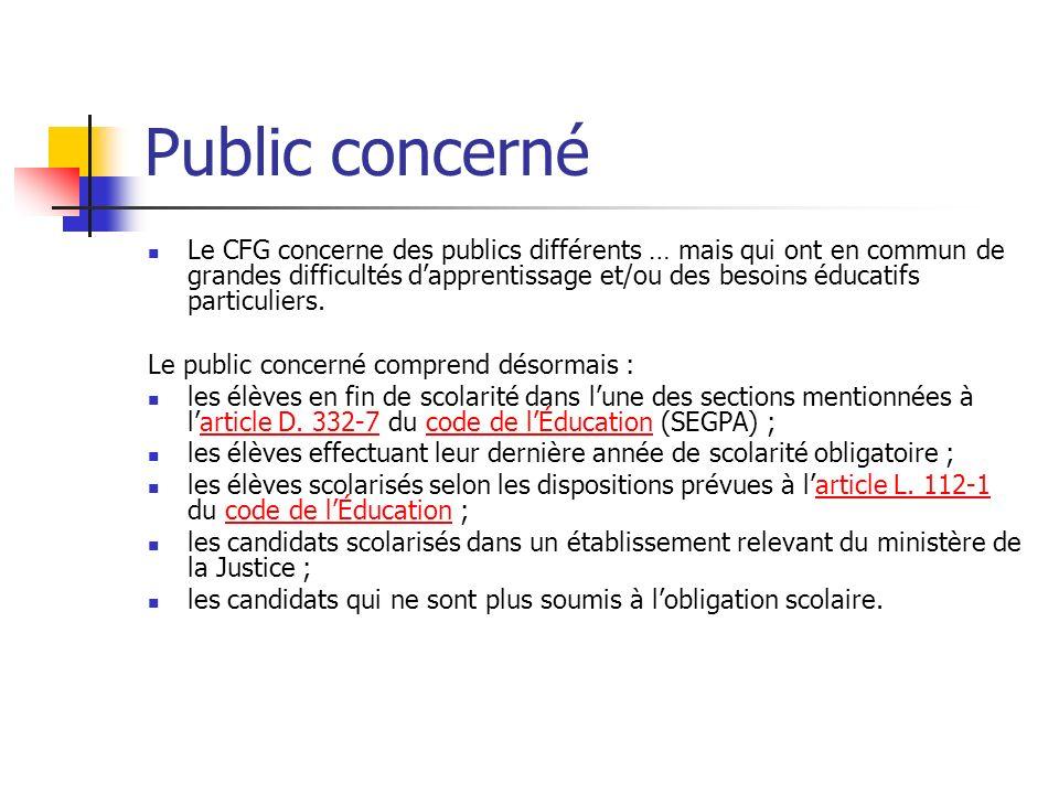 Public concerné Le CFG concerne des publics différents … mais qui ont en commun de grandes difficultés dapprentissage et/ou des besoins éducatifs part