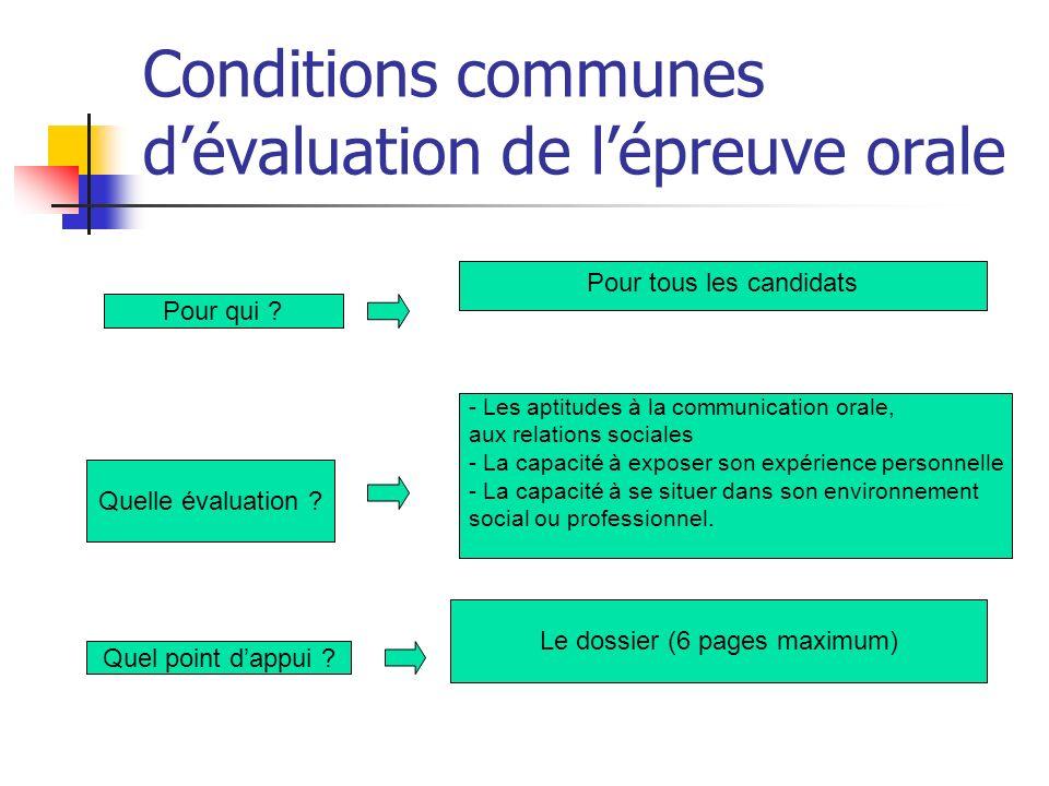 Conditions communes dévaluation de lépreuve orale Pour qui ? Pour tous les candidats Quelle évaluation ? - Les aptitudes à la communication orale, aux