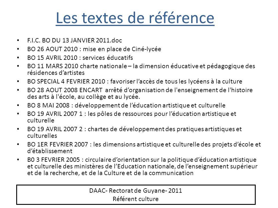 Les textes de référence F.I.C. BO DU 13 JANVIER 2011.doc BO 26 AOUT 2010 : mise en place de Ciné-lycée BO 15 AVRIL 2010 : services éducatifs BO 11 MAR