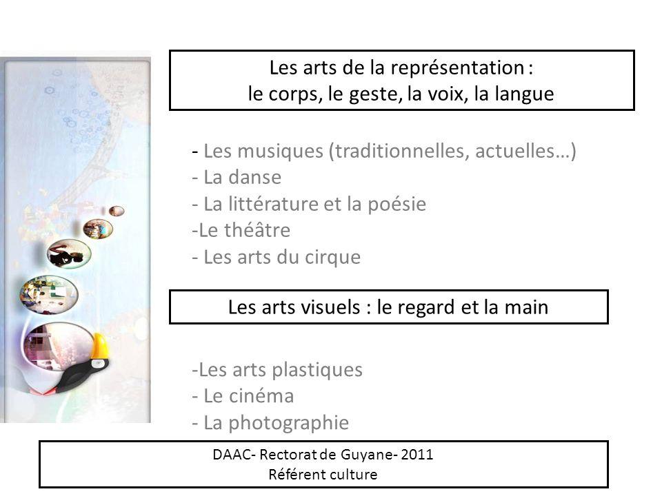Les arts de la représentation : le corps, le geste, la voix, la langue - Les musiques (traditionnelles, actuelles…) - La danse - La littérature et la