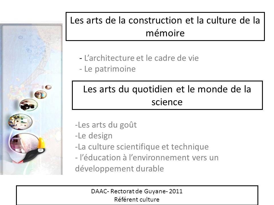 Les arts de la construction et la culture de la mémoire - Larchitecture et le cadre de vie - Le patrimoine Les arts du quotidien et le monde de la sci