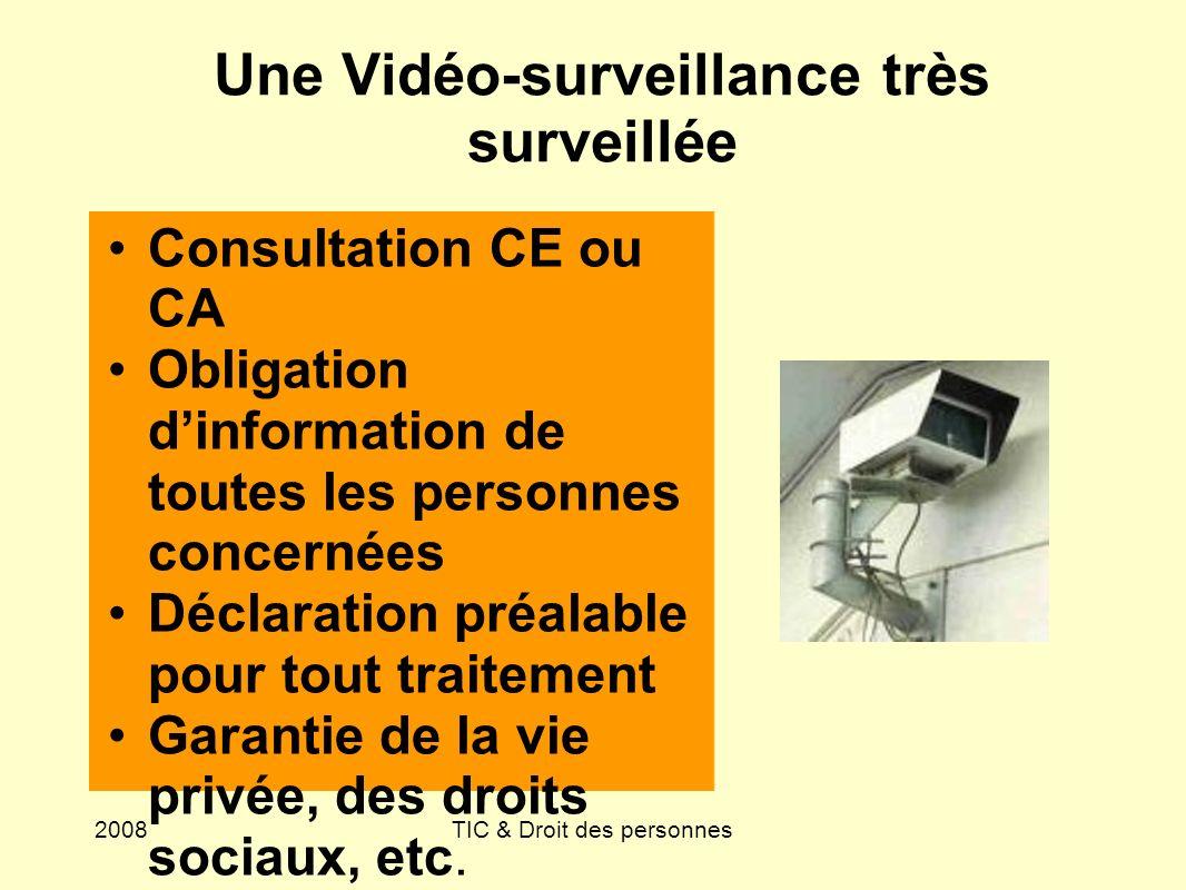 2008TIC & Droit des personnes Une Vidéo-surveillance très surveillée Consultation CE ou CA Obligation dinformation de toutes les personnes concernées