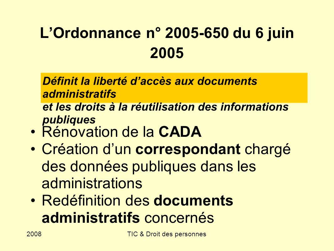 2008TIC & Droit des personnes LOrdonnance n° 2005-650 du 6 juin 2005 Rénovation de la CADA Création dun correspondant chargé des données publiques dan