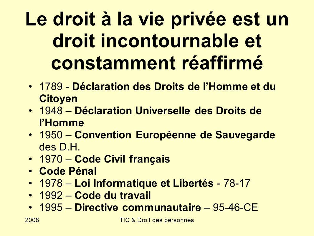 2008TIC & Droit des personnes Le droit à la vie privée est un droit incontournable et constamment réaffirmé 1789 - Déclaration des Droits de lHomme et