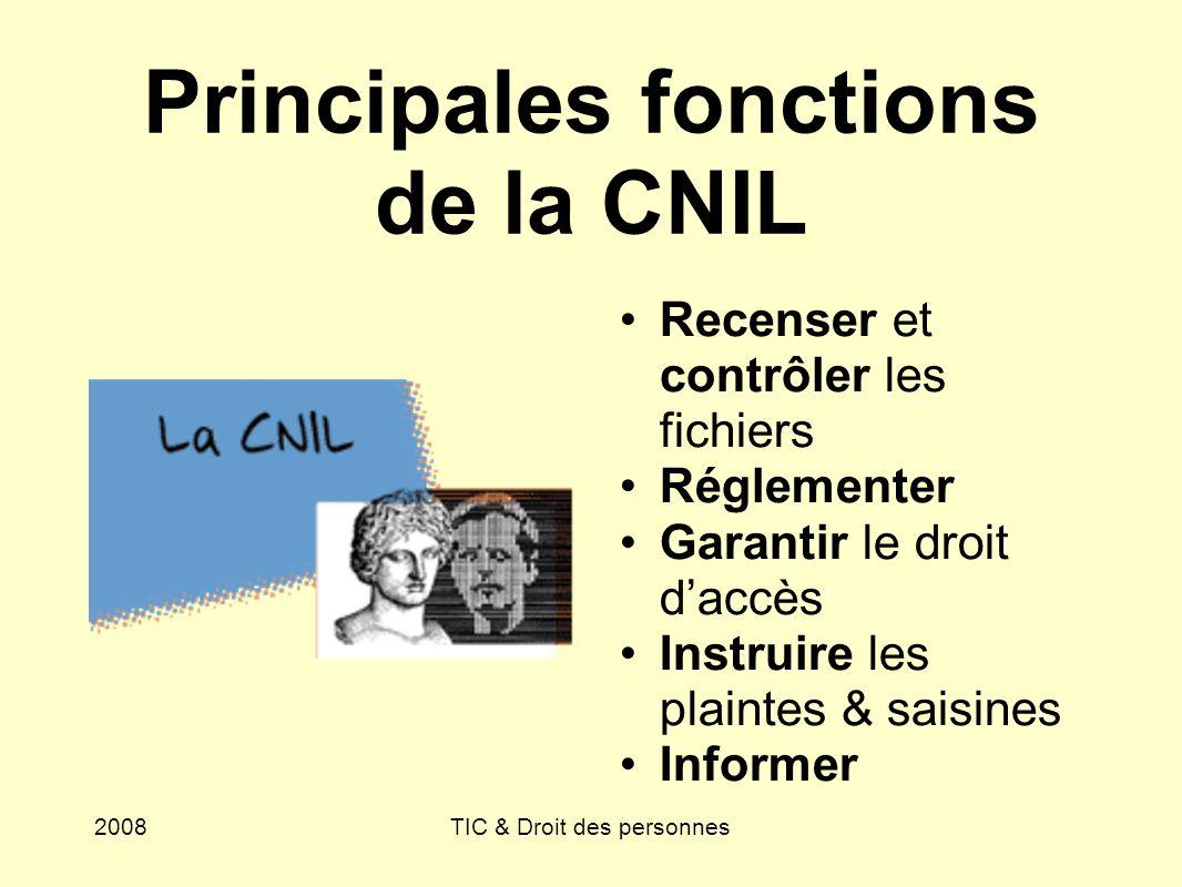 2008TIC & Droit des personnes Principales fonctions de la CNIL Recenser et contrôler les fichiers Réglementer Garantir le droit daccès Instruire les p