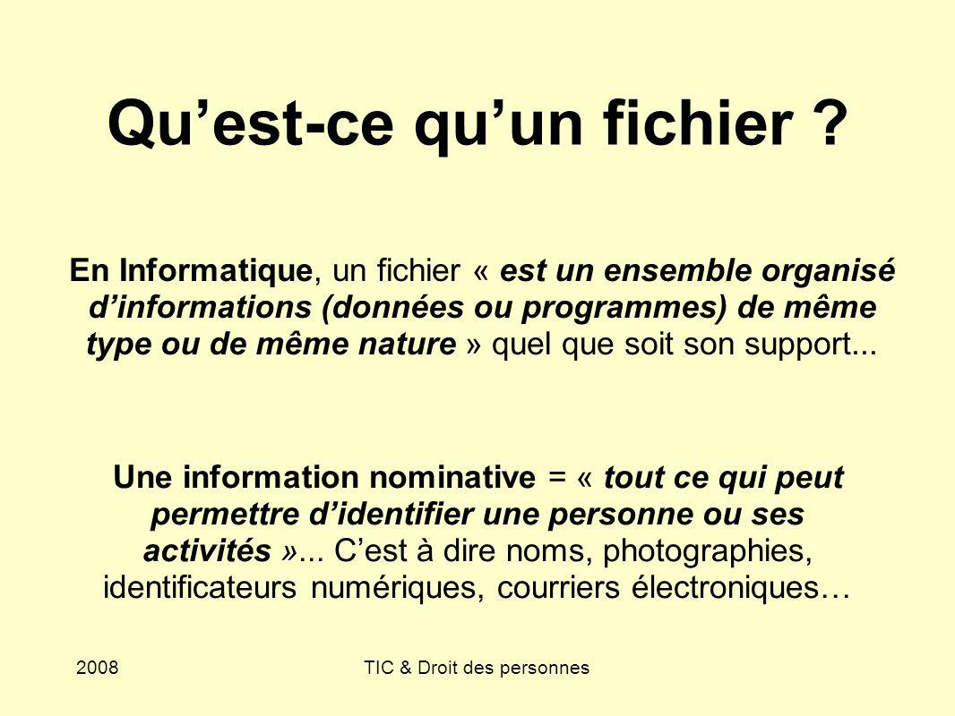 2008TIC & Droit des personnes Quest-ce quun fichier ? En Informatique, un fichier « est un ensemble organisé dinformations (données ou programmes) de