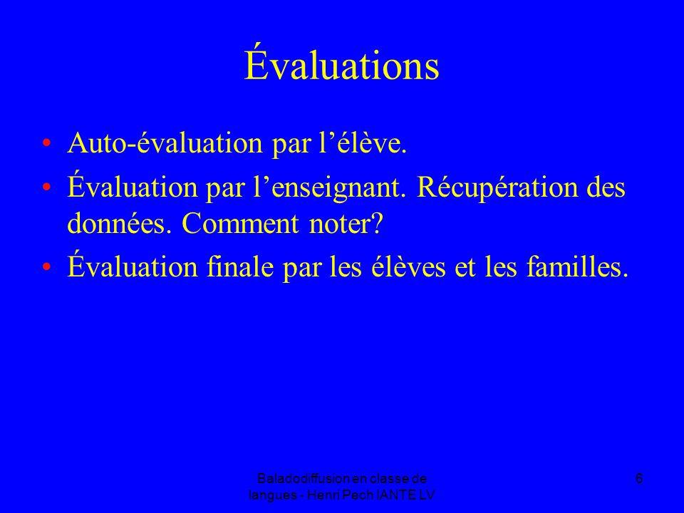 Baladodiffusion en classe de langues - Henri Pech IANTE LV 6 Évaluations Auto-évaluation par lélève. Évaluation par lenseignant. Récupération des donn