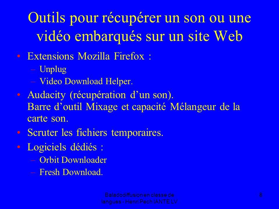 Baladodiffusion en classe de langues - Henri Pech IANTE LV 8 Outils pour récupérer un son ou une vidéo embarqués sur un site Web Extensions Mozilla Firefox : –Unplug –Video Download Helper.
