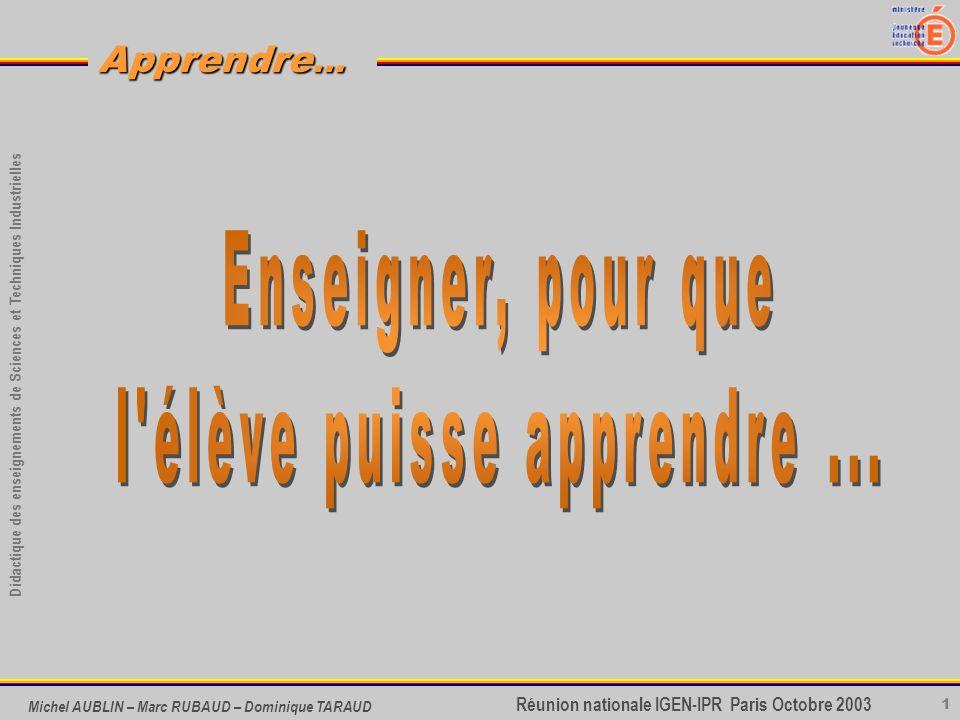 1 Didactique des enseignements de Sciences et Techniques Industrielles Apprendre... Réunion nationale IGEN-IPR Paris Octobre 2003 Michel AUBLIN – Marc