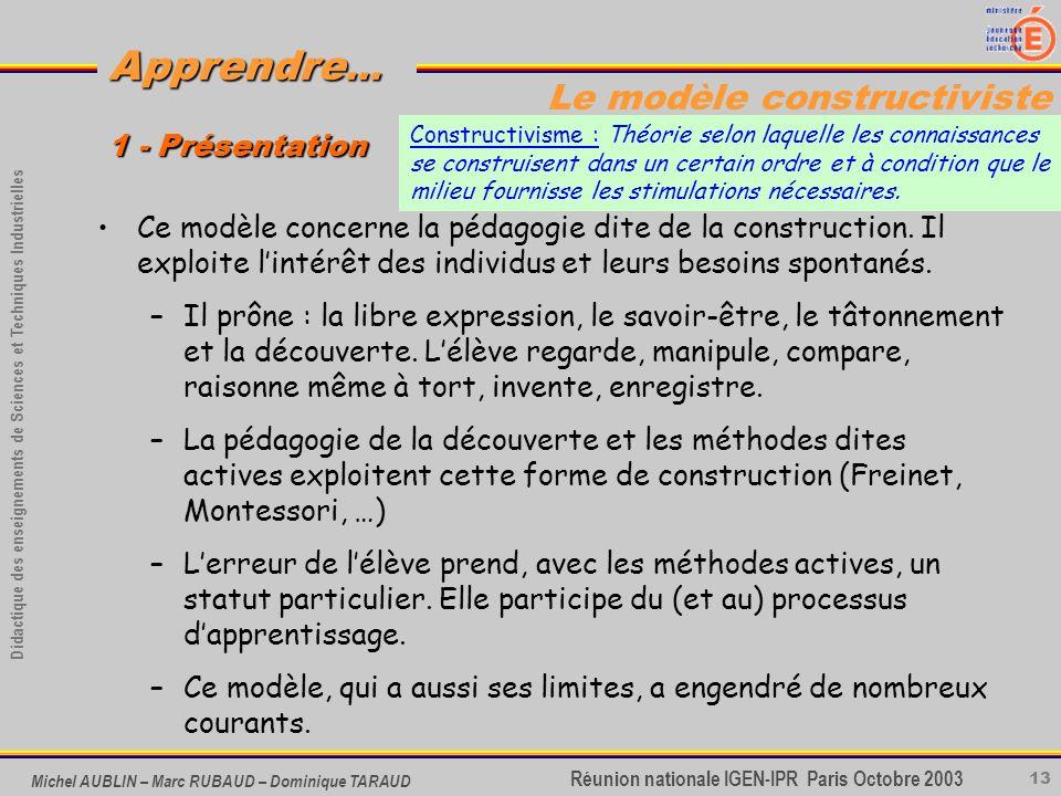 13 Didactique des enseignements de Sciences et Techniques Industrielles Apprendre... Réunion nationale IGEN-IPR Paris Octobre 2003 Michel AUBLIN – Mar
