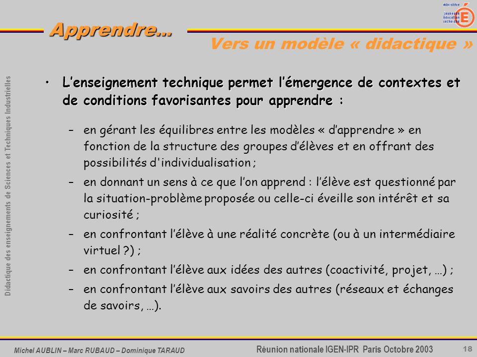 18 Didactique des enseignements de Sciences et Techniques Industrielles Apprendre... Réunion nationale IGEN-IPR Paris Octobre 2003 Michel AUBLIN – Mar