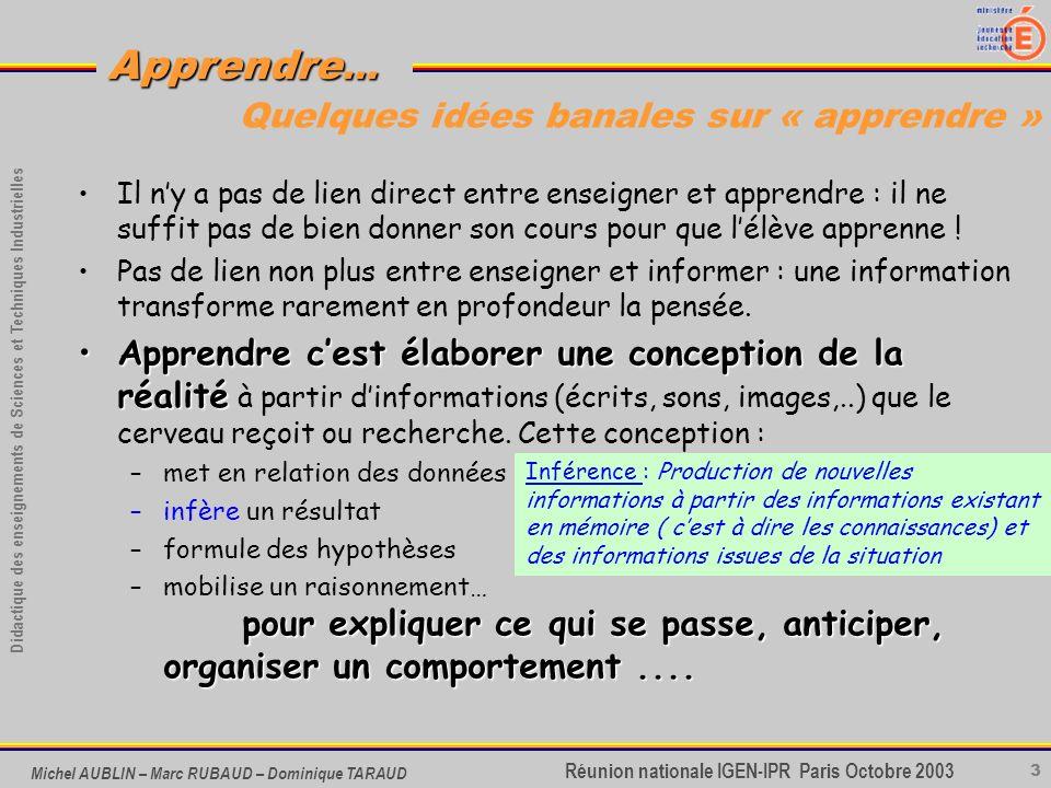 3 Didactique des enseignements de Sciences et Techniques Industrielles Apprendre... Réunion nationale IGEN-IPR Paris Octobre 2003 Michel AUBLIN – Marc
